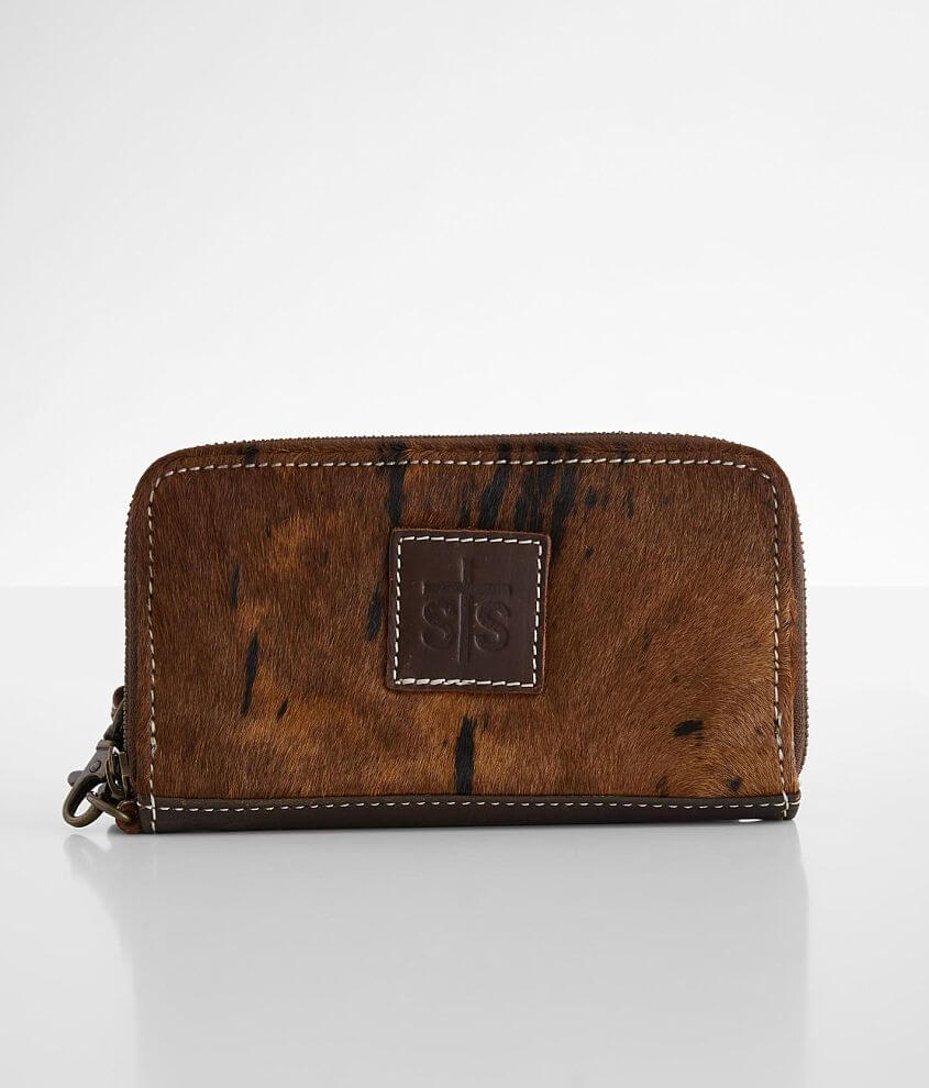 STS Rosa Brindle Cowhide Leather Wristlet Wallet front view