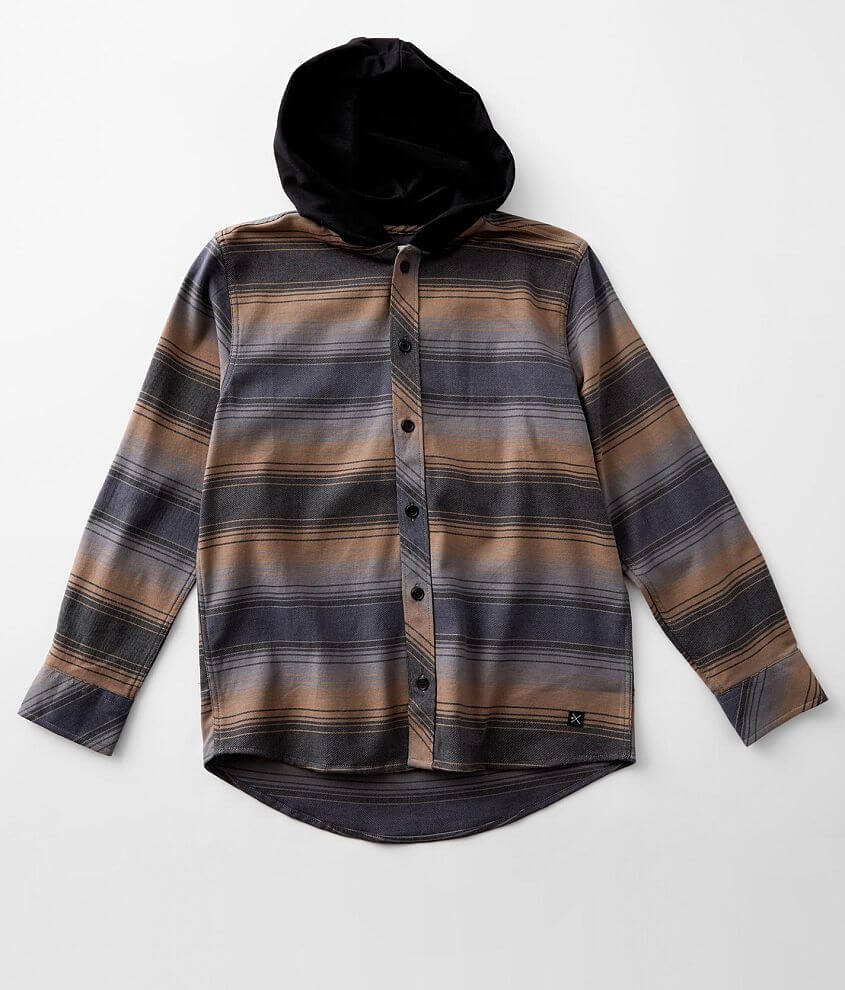 Boys - Departwest Striped Woven Stretch Shirt front view