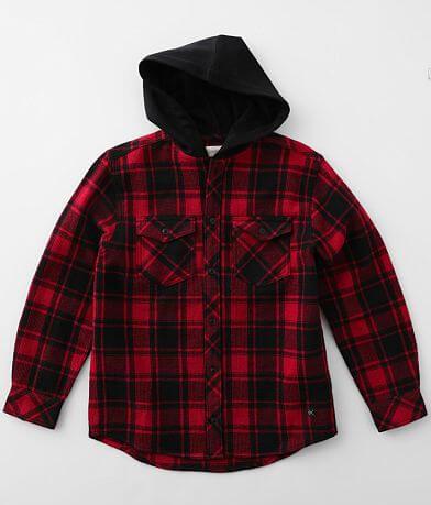 Boys - Departwest Hooded Plaid Thermal Shirt