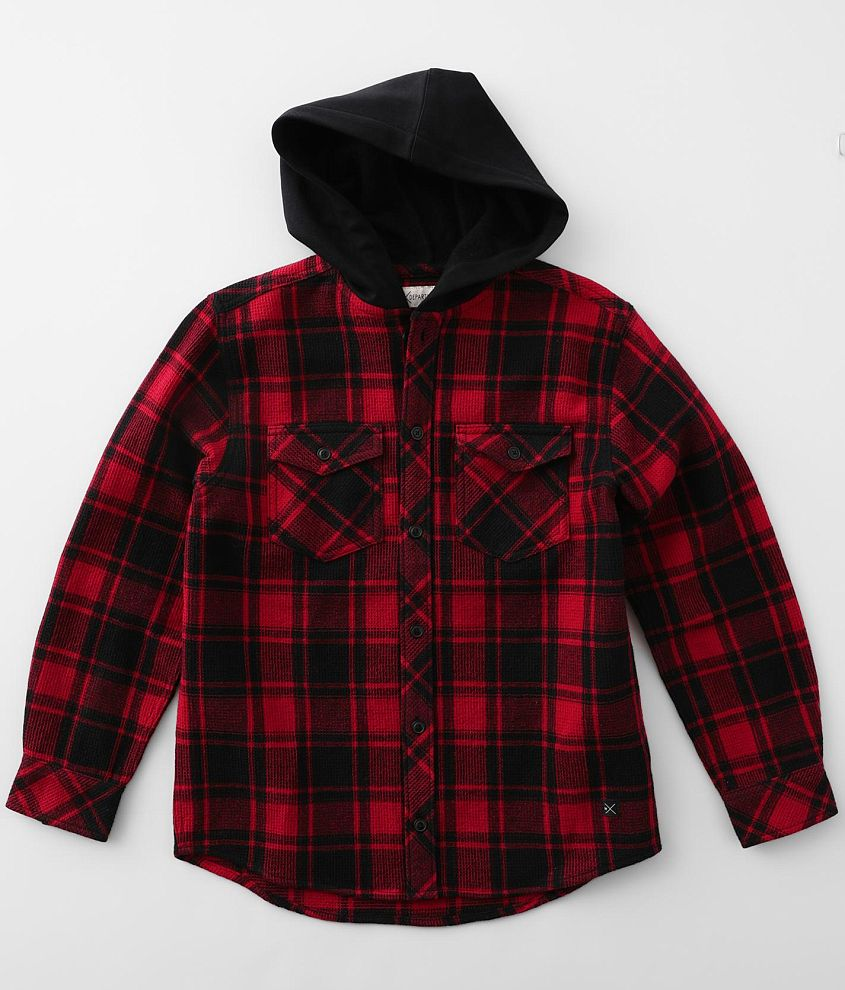 Boys - Departwest Hooded Plaid Thermal Shirt front view