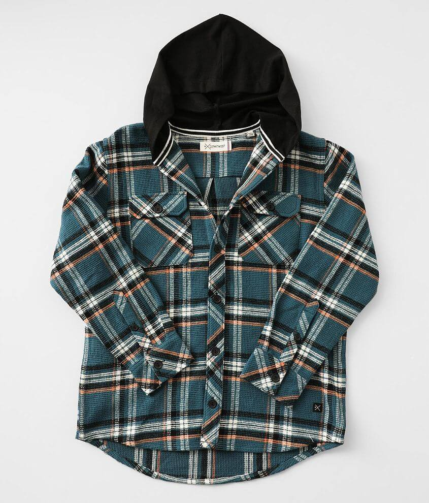 Boys - Departwest Hooded Flannel Shirt front view