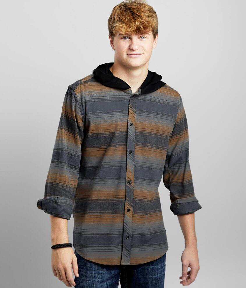 Departwest Striped Woven Hooded Stretch Shirt front view