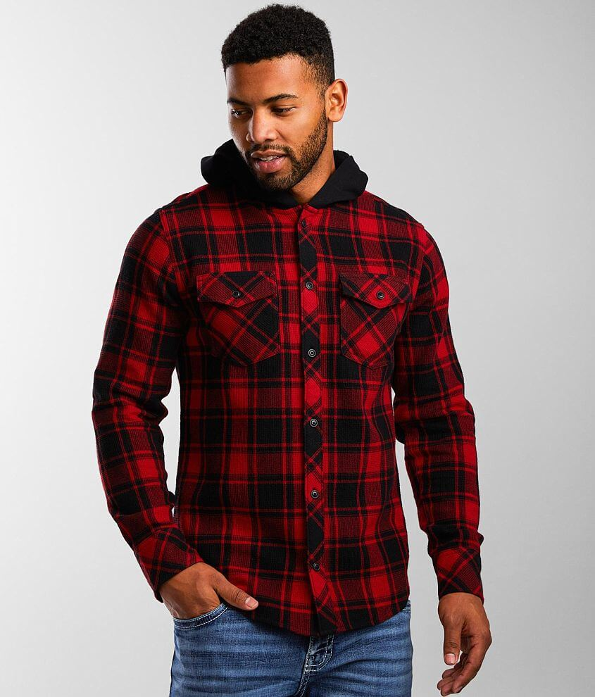 Departwest Hooded Plaid Thermal Shirt front view