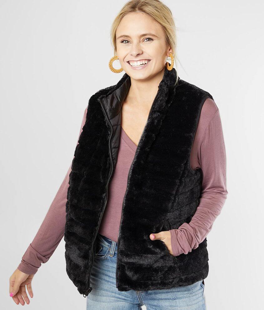 Daytrip Reversible Faux Fur Vest front view