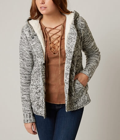Ci Sono Cable Knit Cardigan Sweater