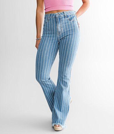 Cello High Rise Striped Flare Stretch Jean