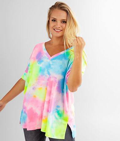 Cherish Oversized Tie Dye Thermal Top