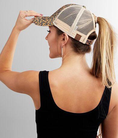 C.C® Leopard Glitter Ponytail Baseball Hat