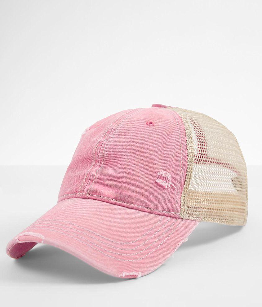 C.C® Distressed Ponytail Trucker Hat front view