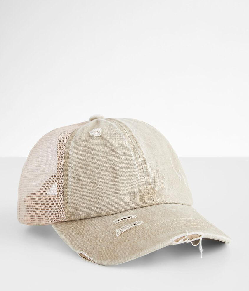 C.C® Destructed Ponytail Trucker Hat front view