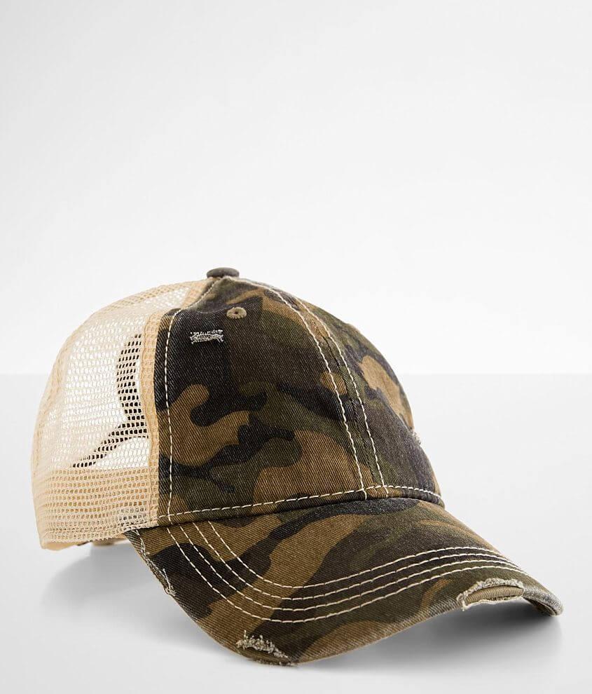 C.C® Camo Ponytail Baseball Hat front view