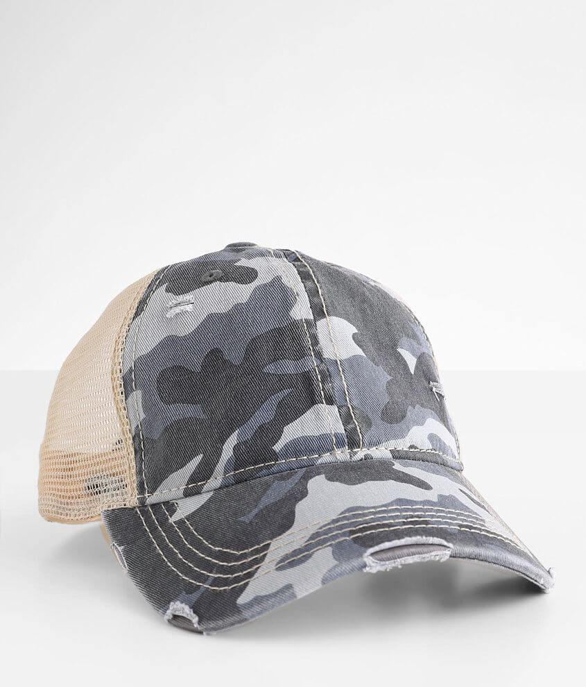 C.C® Camo Ponytail Trucker Hat front view