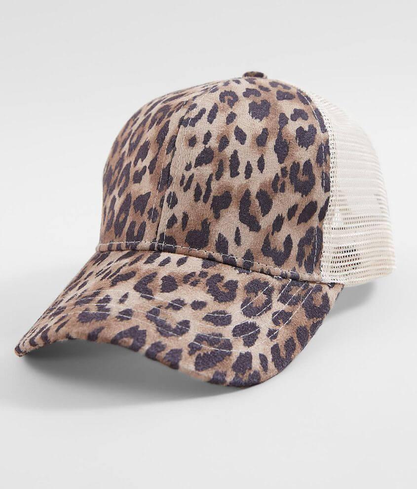 C.C® Leopard Ponytail Baseball Hat front view