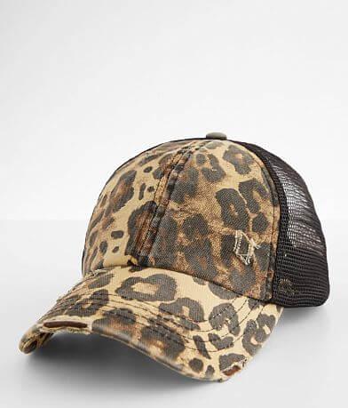 C.C® Distressed Leopard Ponytail Baseball Hat