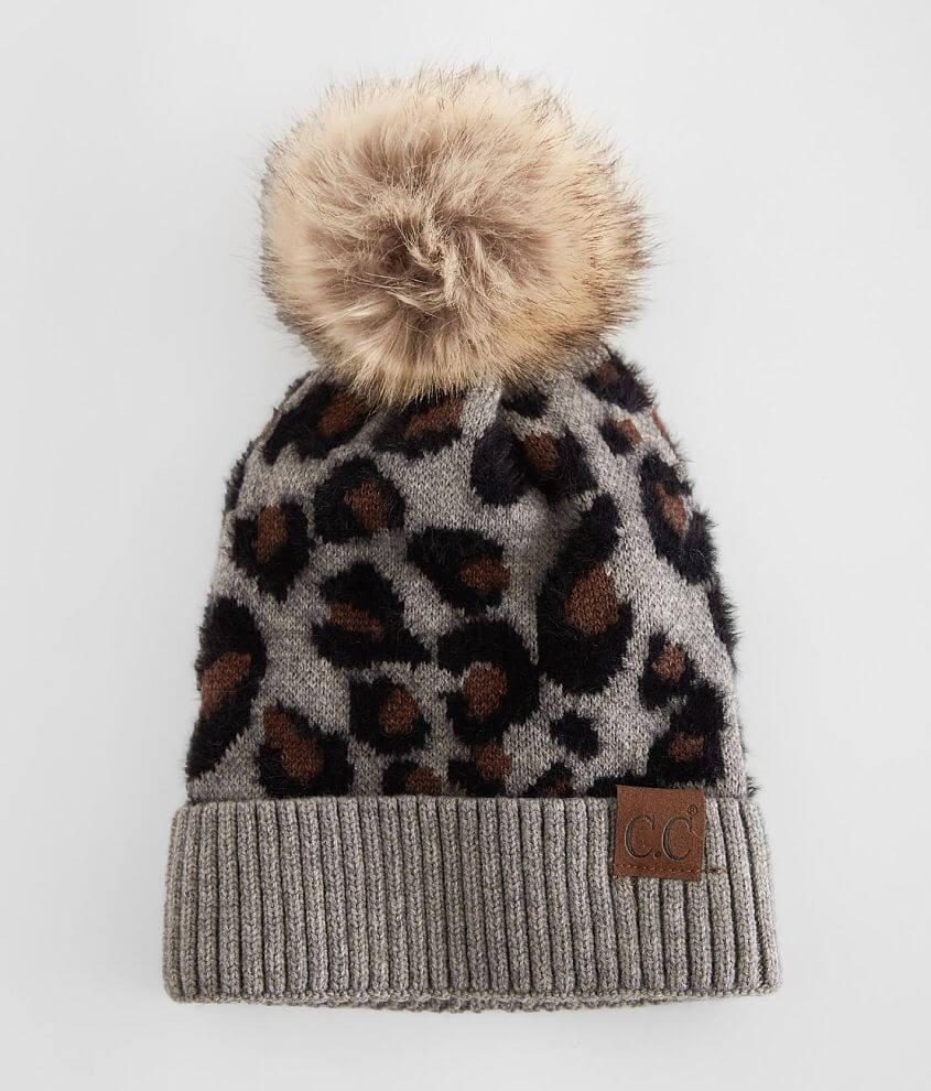 C.C® Leopard Pom Beanie front view