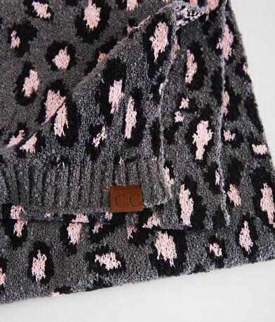 C.C® Leopard Jacquard Fuzzy Knit Scarf