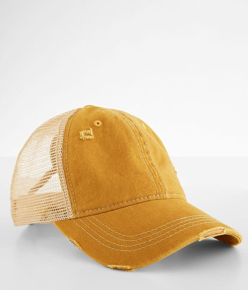 C.C® Distressed Ponytail Baseball Hat front view