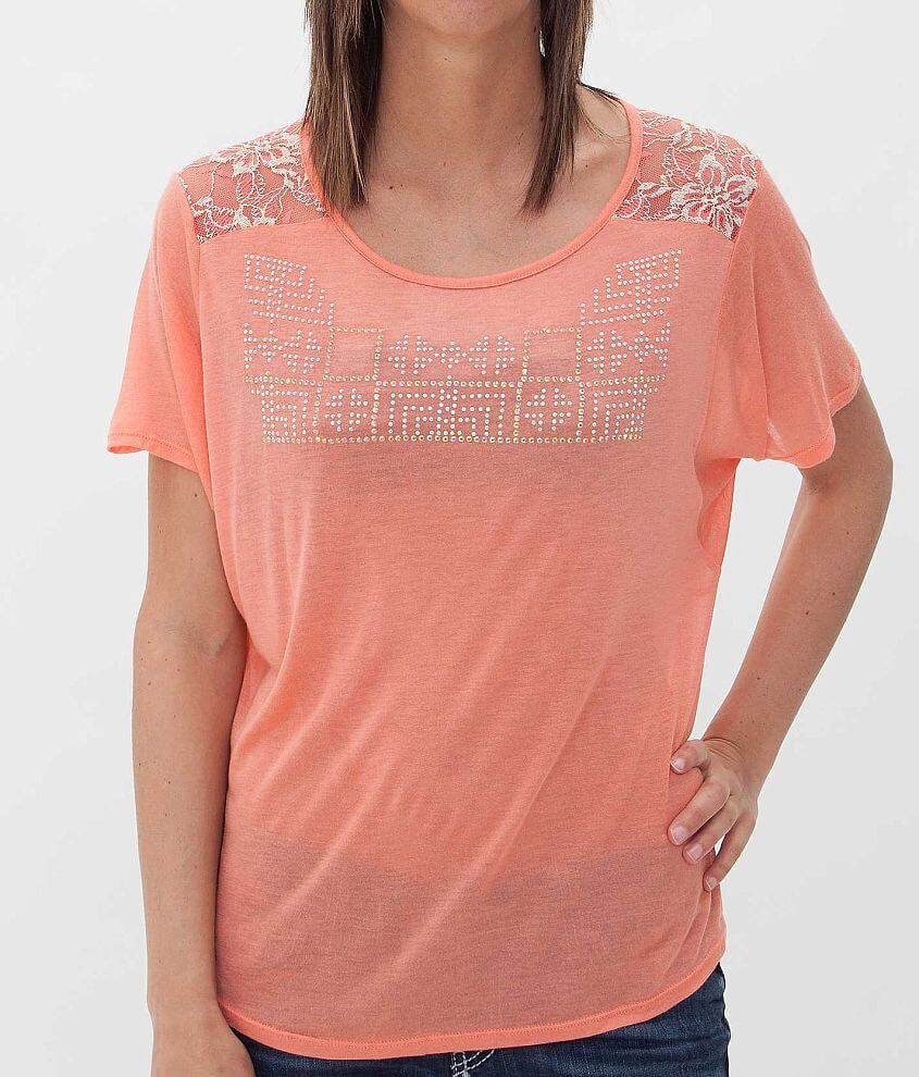 Daytrip Pieced Lace Top front view