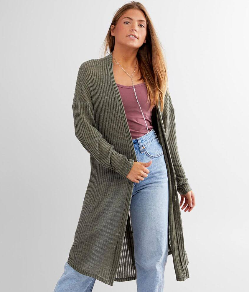 Daytrip Twisted Back Pointelle Knit Cardigan front view