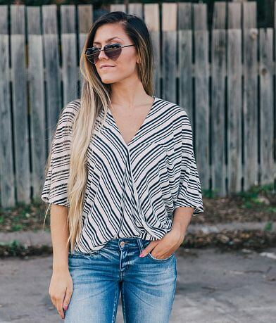 willow & root Striped Surplice Top