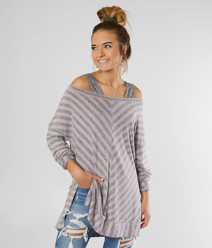 BKE Off The Shoulder Brushed Hacci Top front view