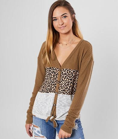 Daytrip Leopard Striped Color Block Top