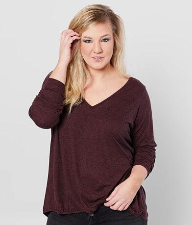 Daytrip Brushed Knit Surplice Top - Plus Size Only