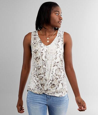 Daytrip Snake Print Twisted Hem Tank Top