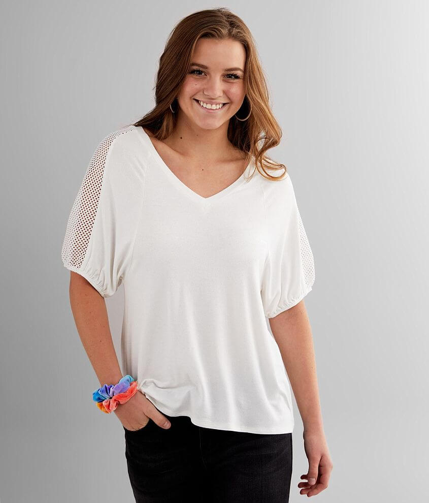Daytrip Double V-Neck Knit Top front view