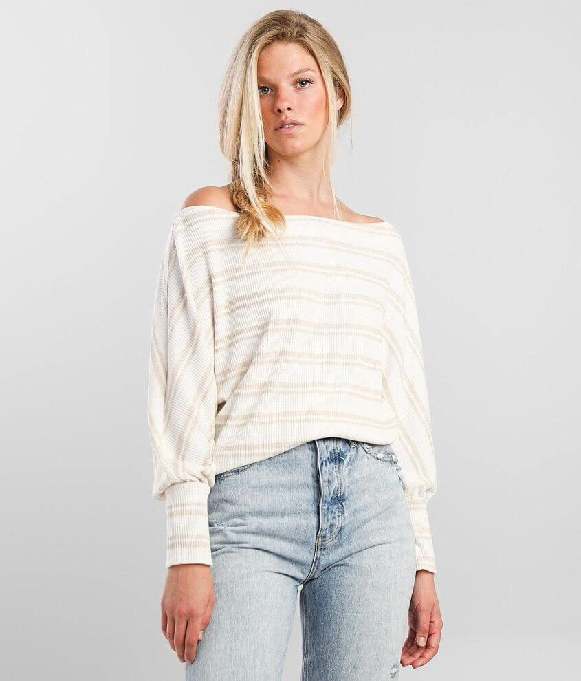 BKE Ribbed Off The Shoulder Top front view