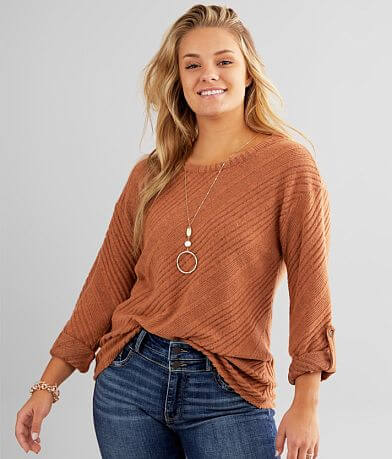 BKE Brushed Hacci Open Back Top