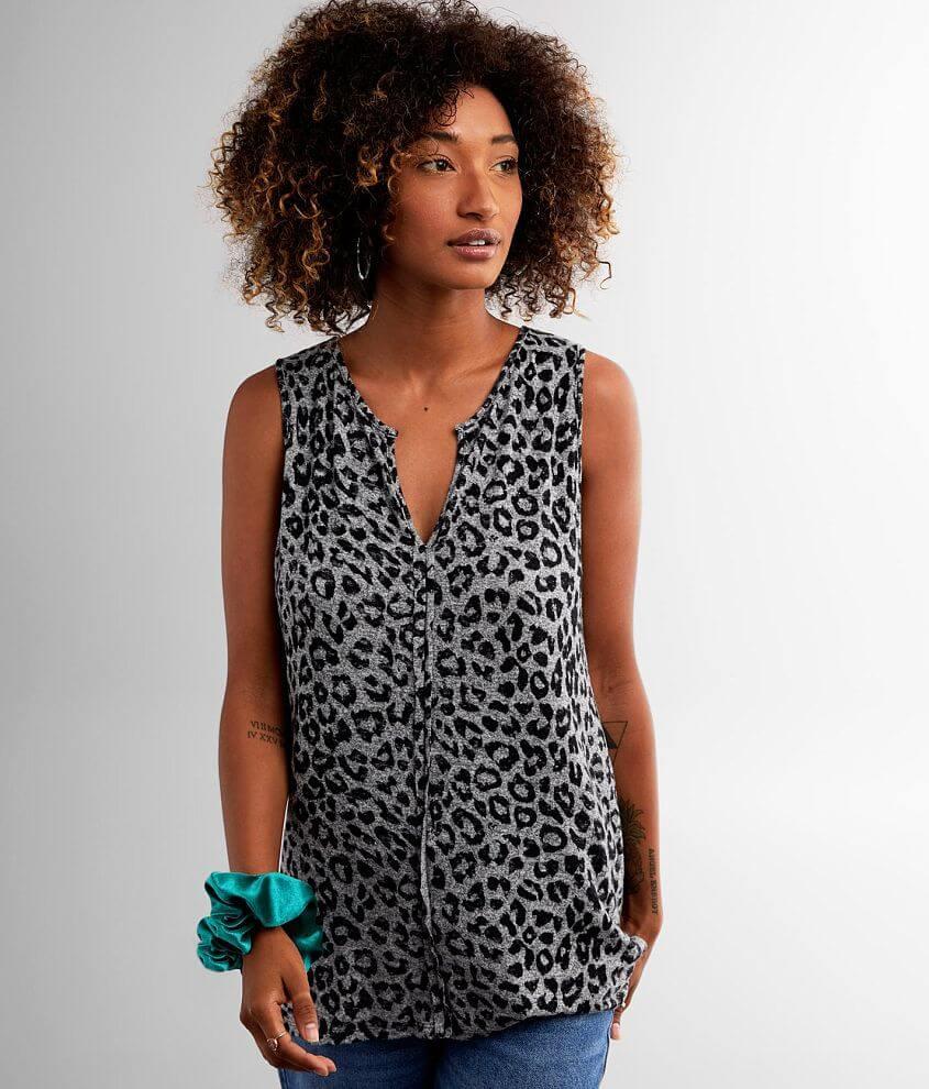 Shop more: So Soft Brushed knit split neck tank High low hem Strappy back and raw edge details Bust measures 35\\\