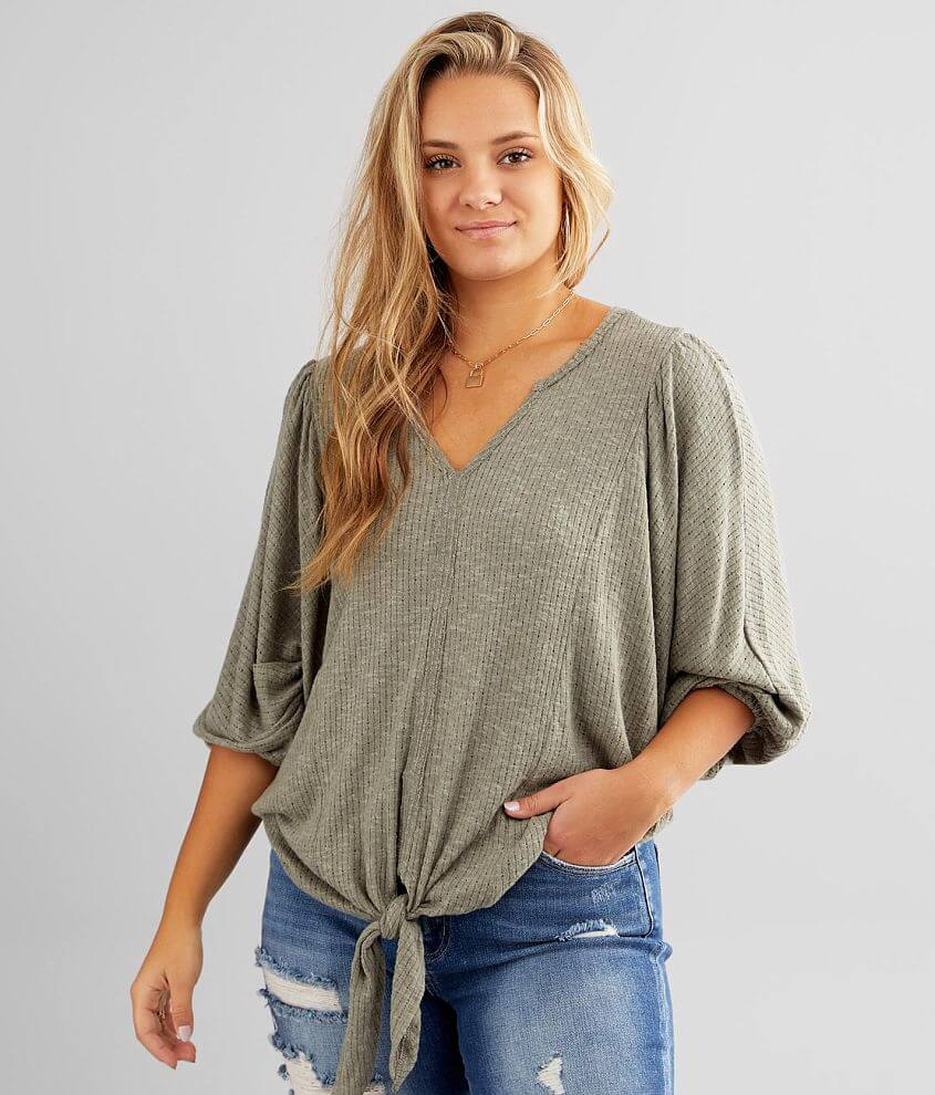 Daytrip Front Tie Pointelle Knit Top front view