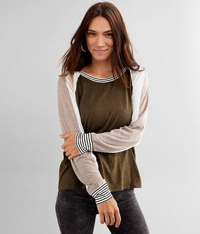 BKE Color Block Modal Blend Top
