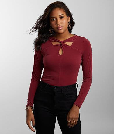 Buckle Black Twisted Yoke Top
