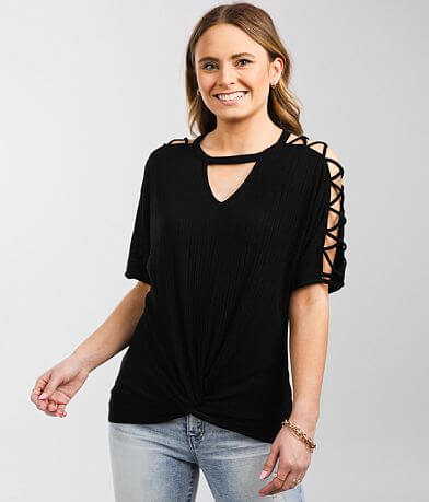 Buckle Black Twisted Front Top