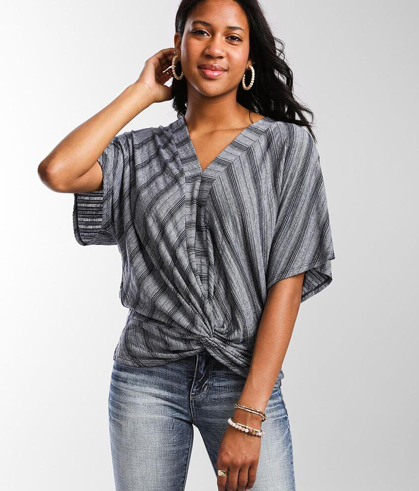 Daytrip Jacquard Knit Twisted Hem Top front view