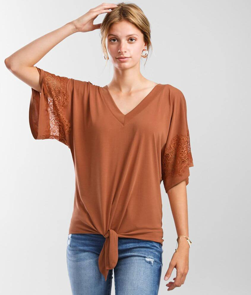 Daytrip Front Tie Dolman Top front view