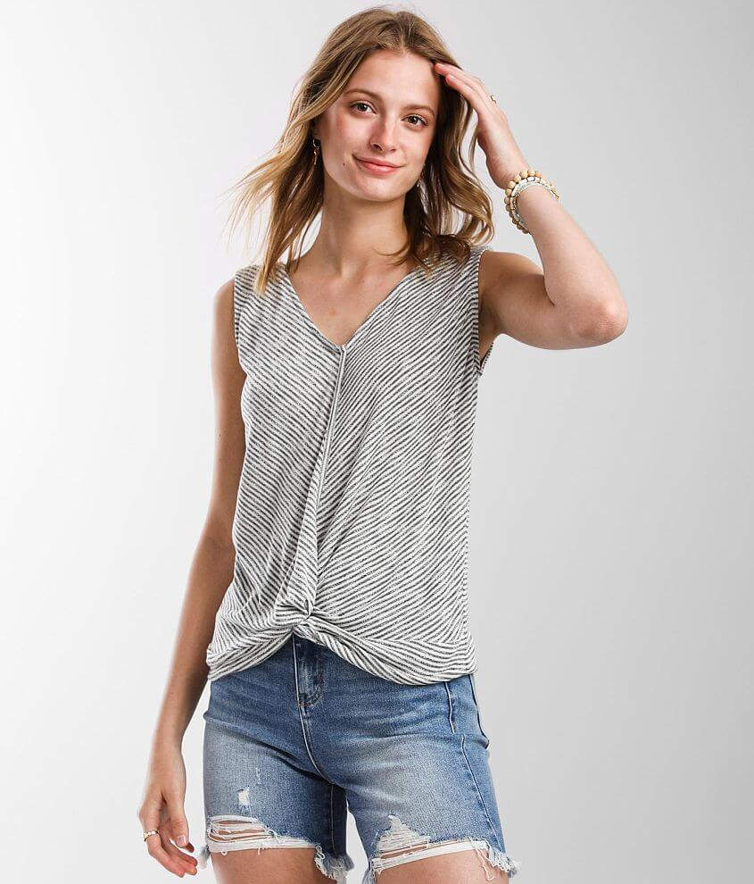 Daytrip Twisted Front Striped Tank Top front view