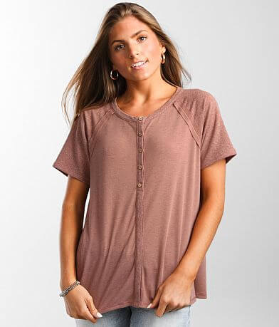 BKE Ribbed Henley Top