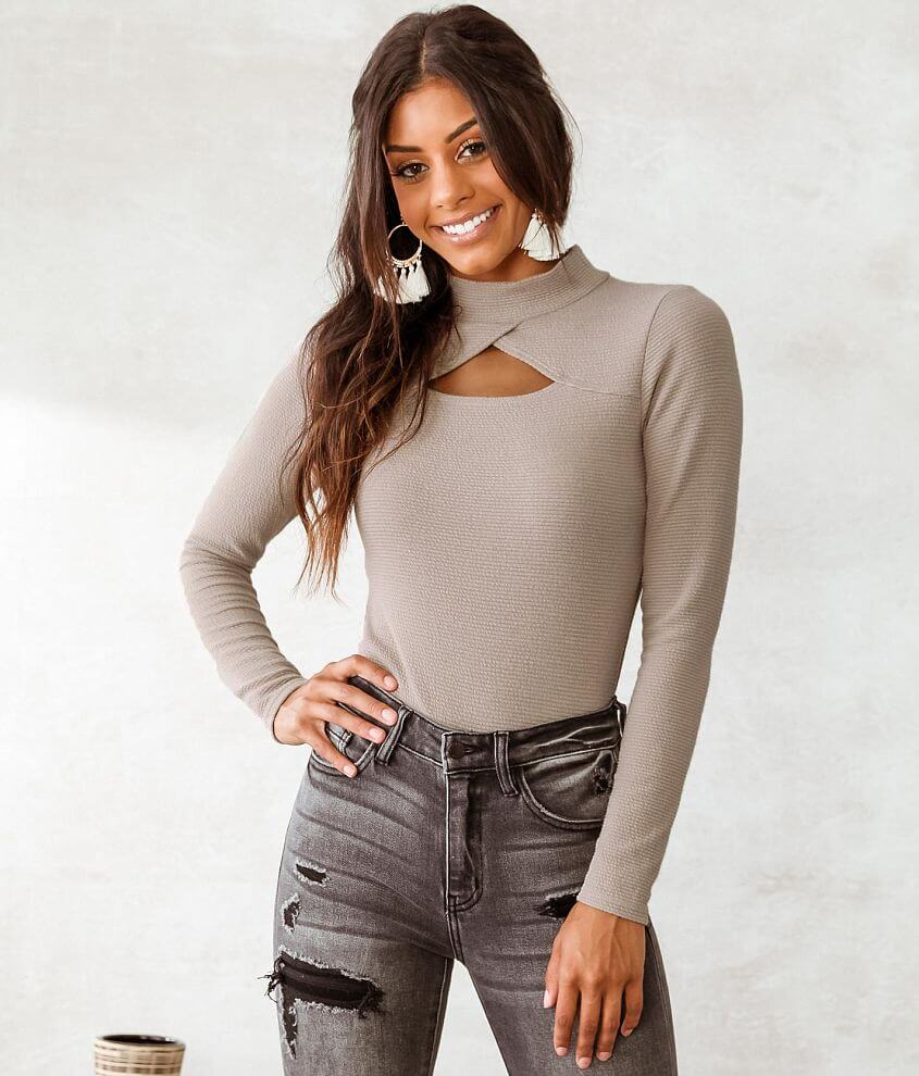 Willow & Root Ribbed Knit Top front view