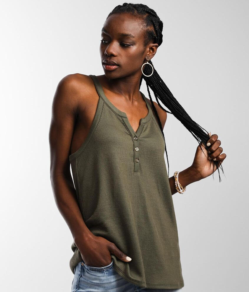 BKE Resin O-Ring Henley Tank Top front view