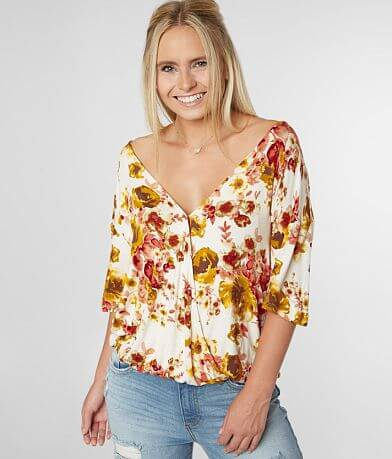 007e186f721c Daytrip Floral Surplice V-Neck Top