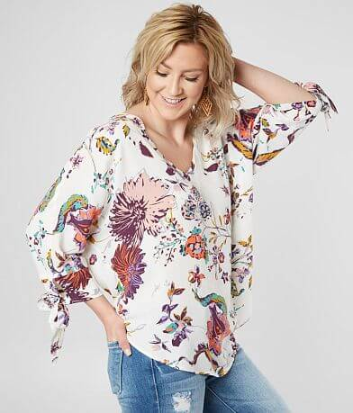 Daytrip Floral High Low Hem Top