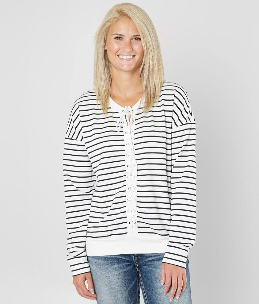 ddbdbc47744 Daytrip Striped Top - Women's Shirts/Blouses in Black White | Buckle