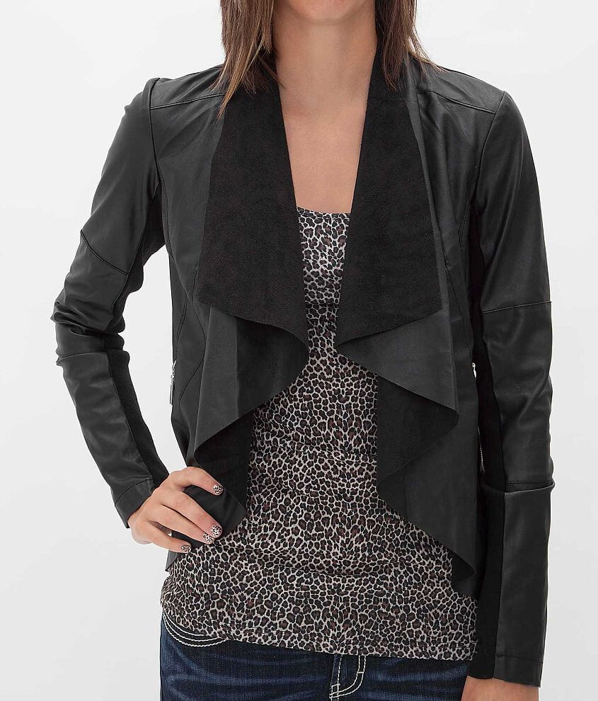 BKE Faux Leather Jacket front view