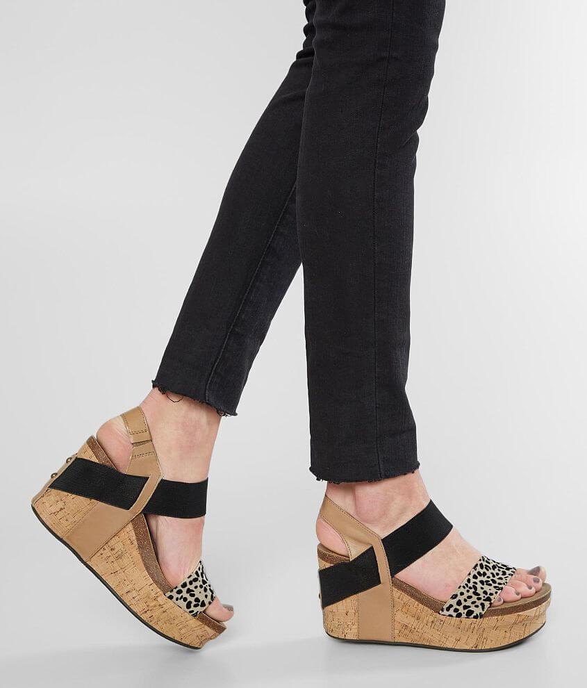 Flocked cheetah print elasticized strappy leather sandal 3 1/2\\\