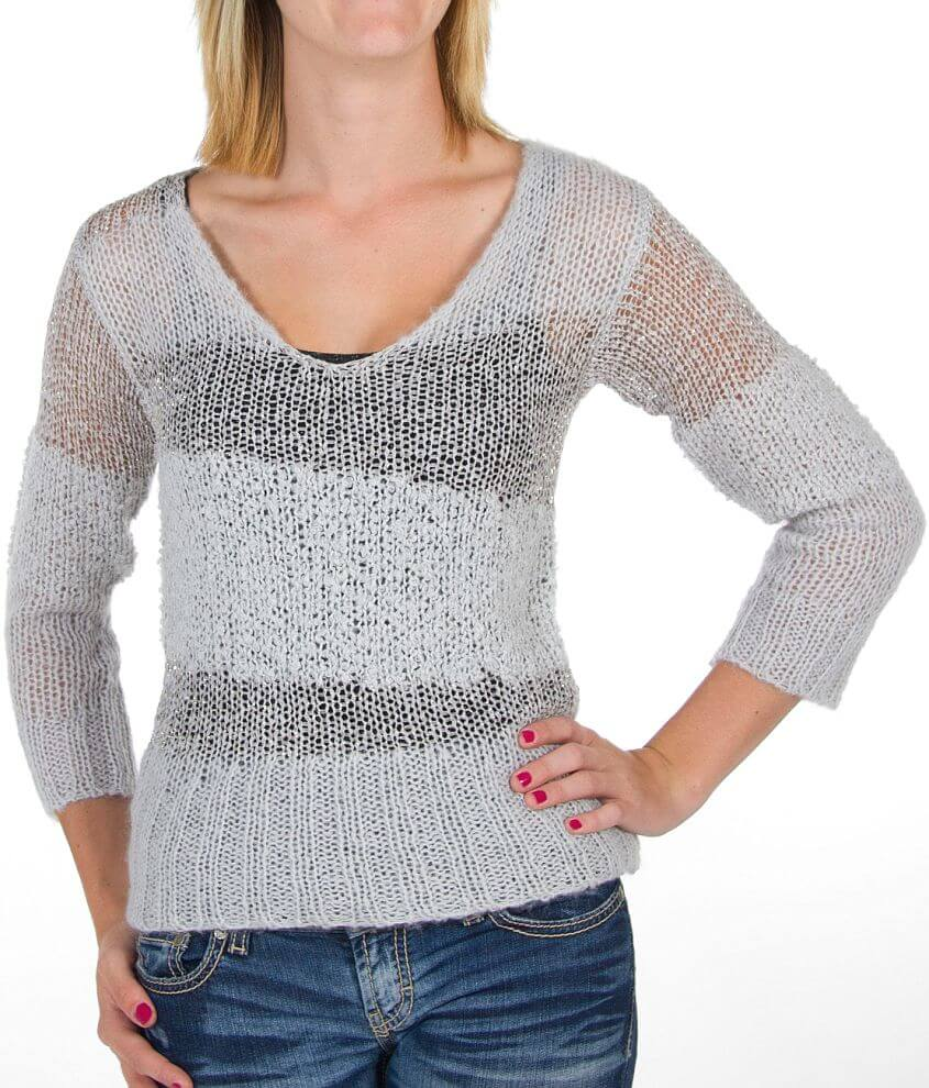 BKE Boutique Metallic Sweater front view