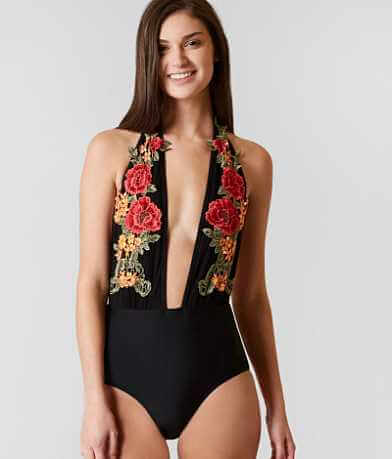 South Beach Embroidered Halter Swimsuit
