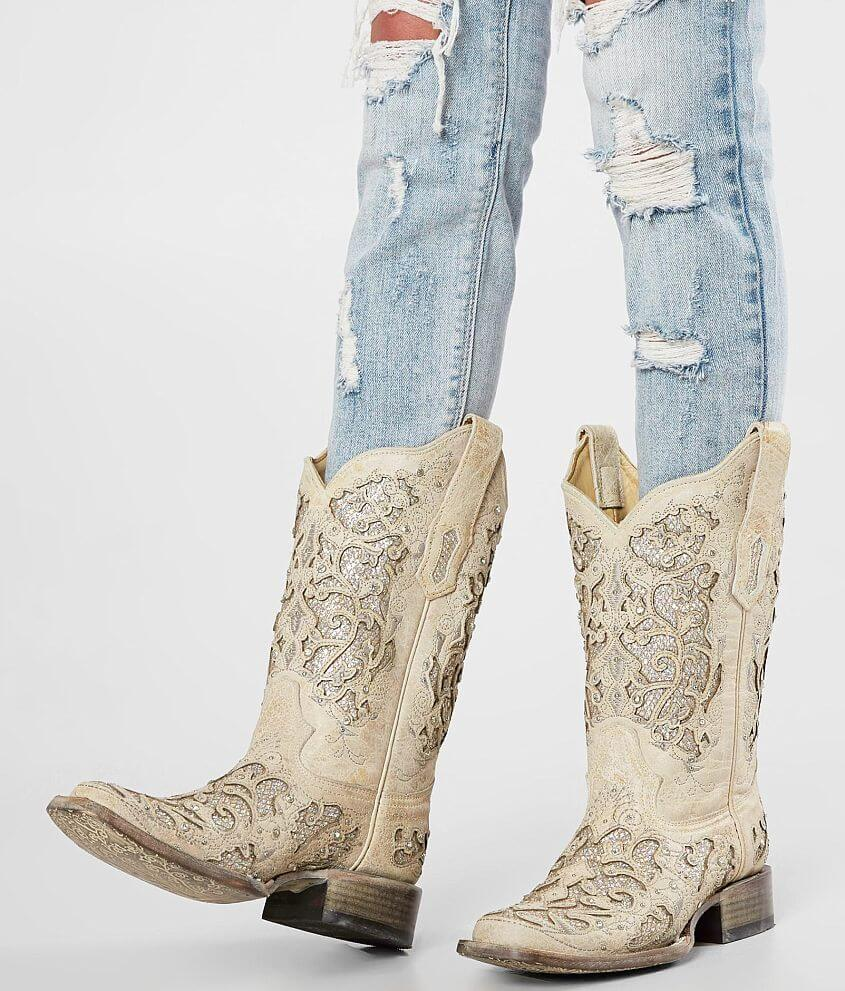 2218b4a69e5 Corral Glitter Leather Western Boot - Women's Shoes in LD White | Buckle